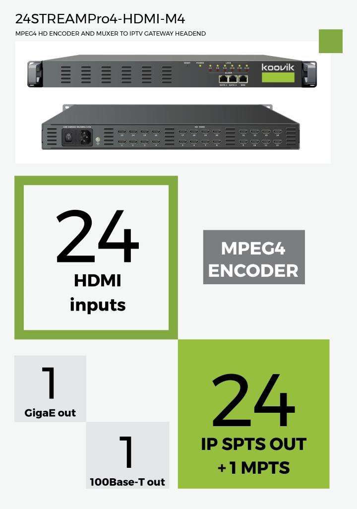 24STREAMPro4-HDMI-M4 - MPEG4 HD ENCODER AND MUXER TO IPTV GATEWAY HEADEND - koovik
