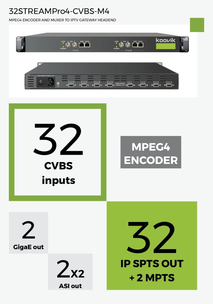 32STREAMPro4-CVBS-M4 - MPEG4 ENCODER AND MUXER TO IPTV GATEWAY HEADEND - koovik