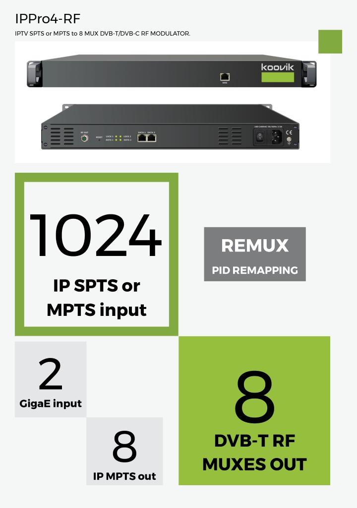IPPro4-RF - IPTV SPTS or MPTS to 8 MUX DVB-T/DVB-C RF MODULATOR - koovik