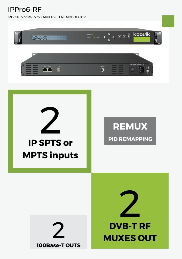IPPro6-RF IPTV SPTS or MPTS to 2 MUX DVB-T RF MODULATOR - koovik