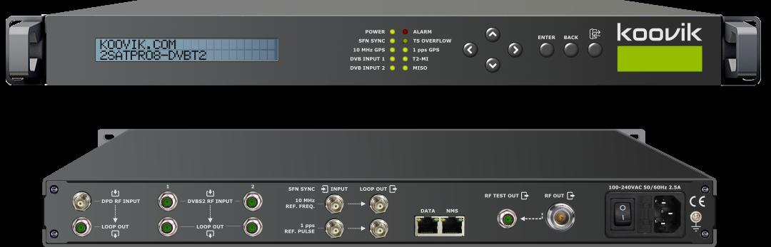 koovik 2satpro8-dvbt2 DVB-S2 to DVB-T (SFN or MFN) OR DVB-T2 (MFN) professional transmodulator