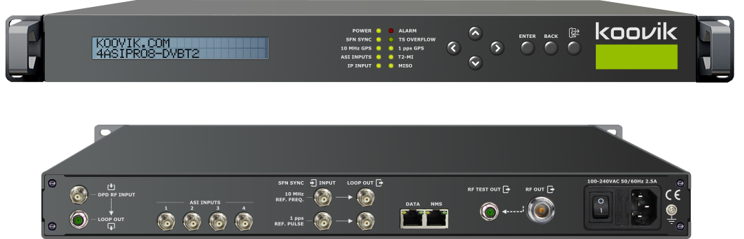 koovik : 4 x ASI + IP to DVB-T (SFN or MFN) or DVB-T2 (MFN) professional modulator