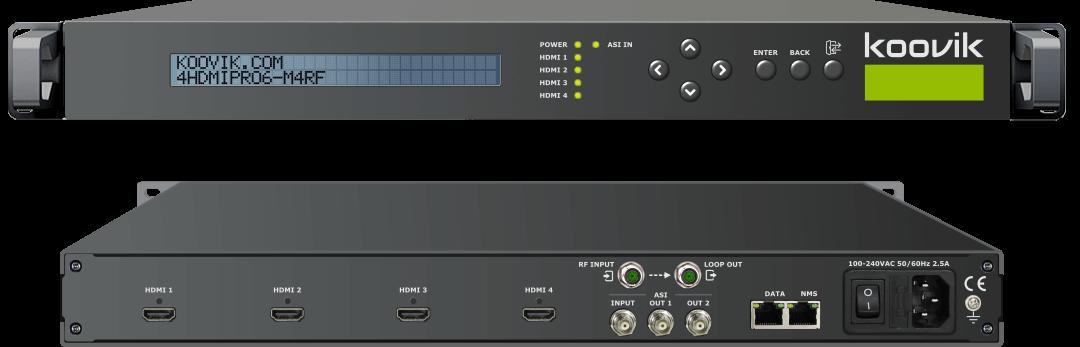 4HDMIPro6-M4RF - HDMI MPEG4 ENCODER, REMUXER, DIGITAL TV MODULATOR & IPTV GATEWAY HEADEND - koovik