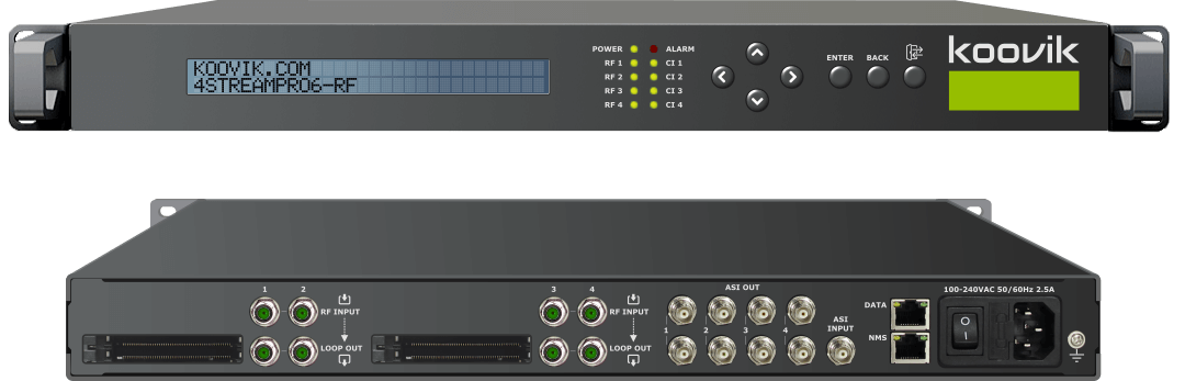 4STREAMPro6-RFIP - RF TUNER + IPTV TO IPTV GATEWAY HEADEND WITH 4 x COMMON INTERFACE SLOTS - koovik
