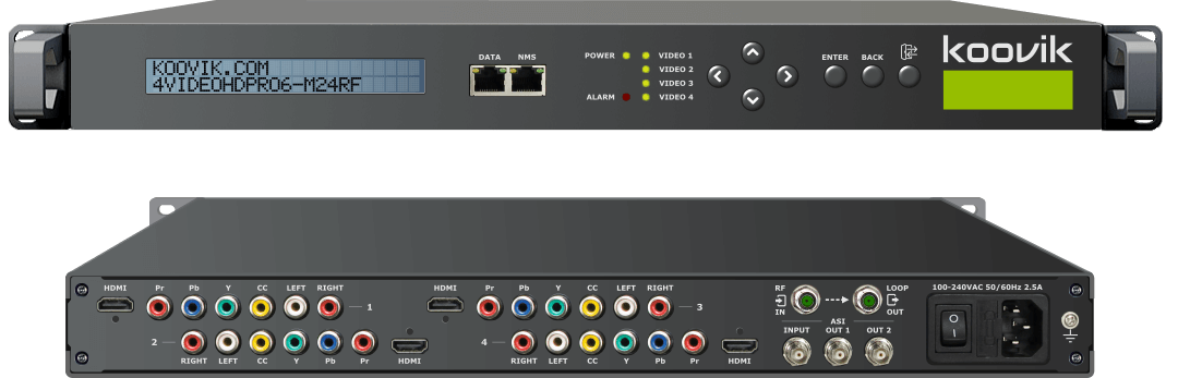 AUDIO/VIDEO HD MPEG2/MPEG4 ENCODER, REMUXER, koovik - 4VIDEOHDPro6-M24RF - DIGITAL TV MODULATOR & IPTV HEADEND