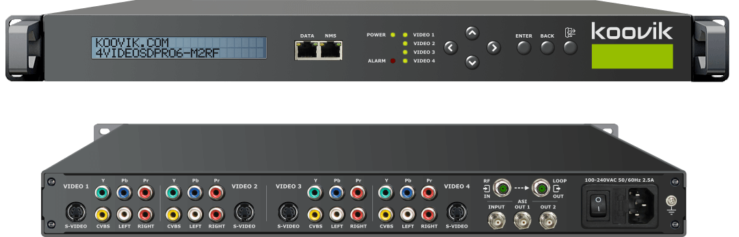 4VIDEOSDPro6-M2RF - AUDIO/VIDEO SD MPEG2 ENCODER, REMUXER, DIGITAL TV MODULATOR & IPTV GATEWAY HEADEND - koovik
