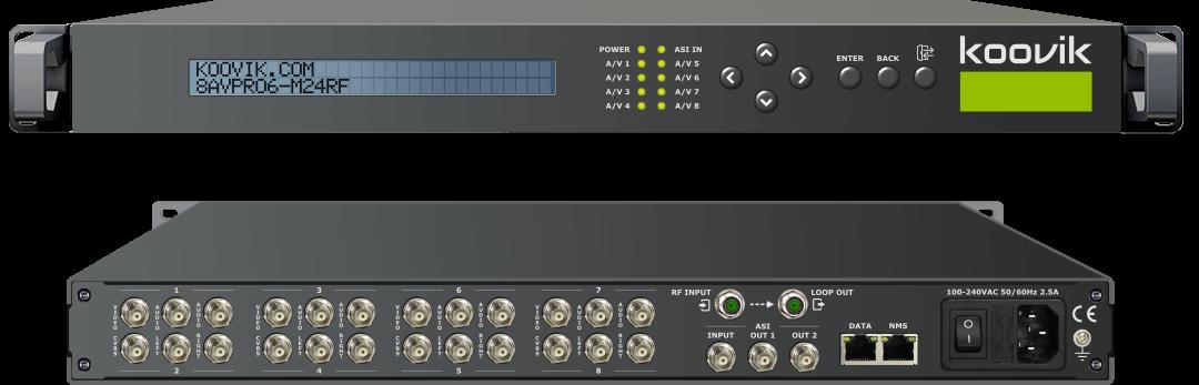 8AVPro6-M24RF - CVBS SD MPEG2/MPEG4 ENCODER, REMUXER, DIGITAL TV MODULATOR & IPTV GATEWAY HEADEND - koovik