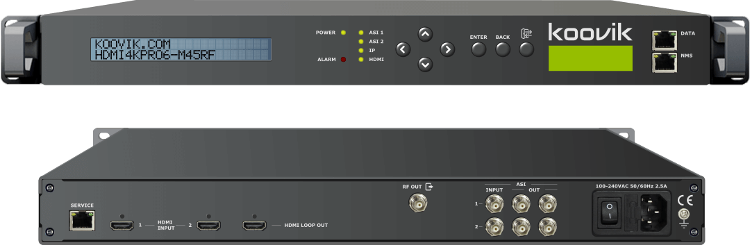 koovik - HDMI4KPro6-M45RF - ULTRA HIGH DEFINITION HDMI H264 AND H265 ENCODER, ASI REMUXER AND MODULATOR