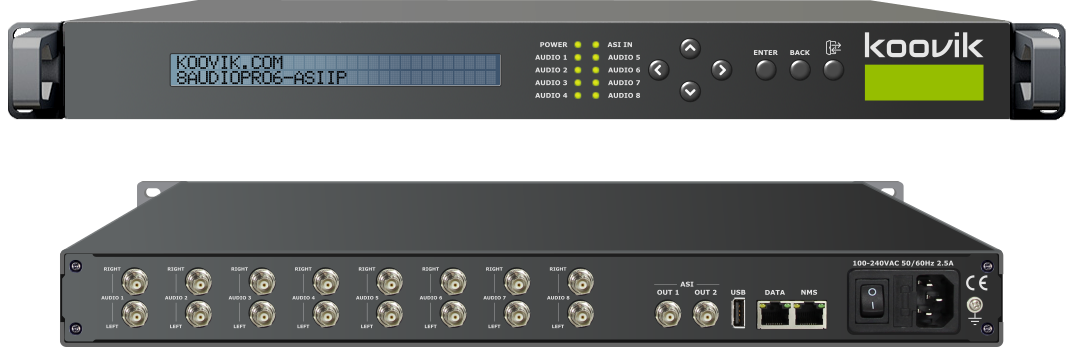 8AUDIOPro6-ASIIP Audio encoder ASI and IP Output