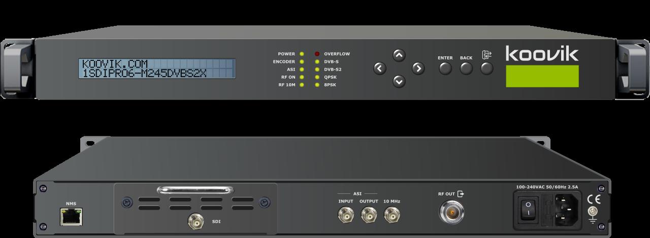 1SDIPro6-M24-DVBS2X SDI MPEG2/MPEG4 ENCODER, ASI REMUXER, DVB-S/S2/S2X MODULATOR & ASI OUTHEADEND